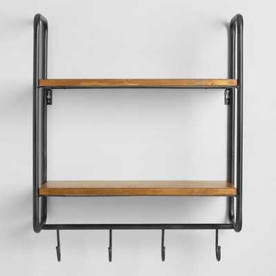 Metal and Wood Skyler 2 Shelf Wall Storage: Black/Brown by World Market - World Market/Cost Plus