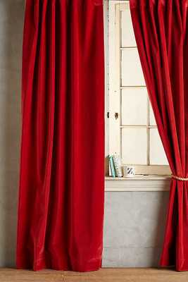 Matte Velvet Curtain -Red - Anthropologie