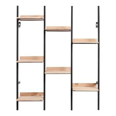 Natural Wood And Black Metal Oliver Wall Shelf - World Market/Cost Plus