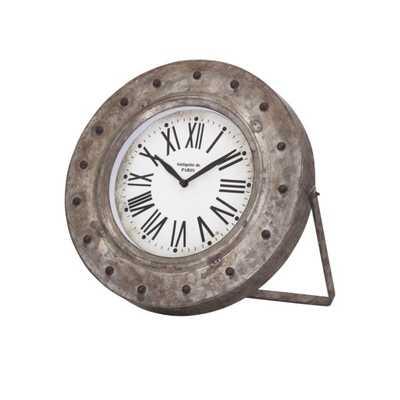 Mabrey Galvanized Desk Clock - Mercer Collection