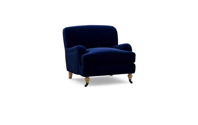 ROSE ACCENT CHAIR - Oxford Blue, Mod Velvet - Natural Oak with Brass Turned Legs - Interior Define