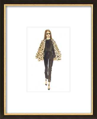 """Leopard and Black - 13.5x16.5"""" - Black with Gold Wood Frame with Matte - Artfully Walls"""