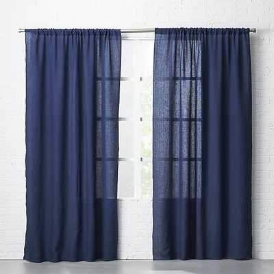 "navy linen curtain panel 48""x96"" - CB2"