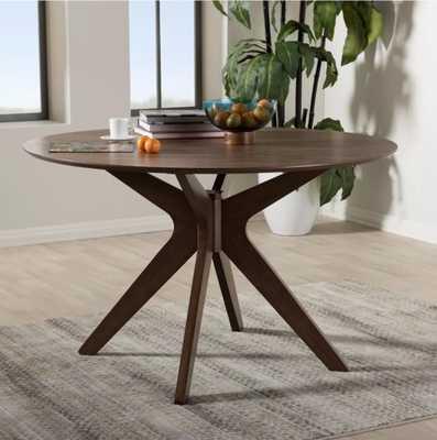"Monte Mid - Century Modern Wood Finish 47 - Inch Round Dining Table - ""Walnut"" Brown - Baxton Studio - Target"