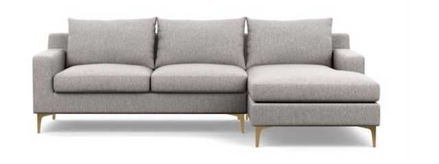 Sloan Sectional Sofa with Right Chaise - Earth Cross - Brass Legs - 96L - Interior Define