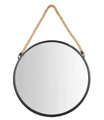 Danya B Round Circle Framed Wall Mirror with Hanging Rope - Hayneedle