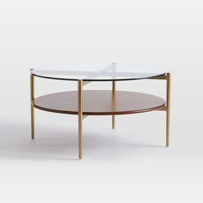 Art Display Coffee Table, Glass, Walnut, Antique Brass - West Elm