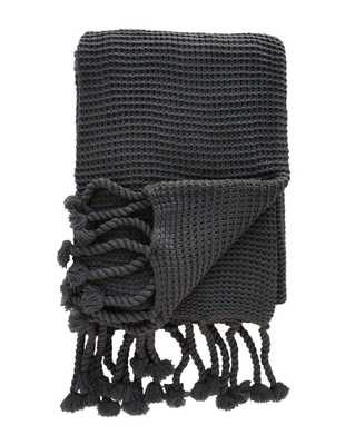 CABLE-KNIT THROW, MIDNIGHT - McGee & Co.