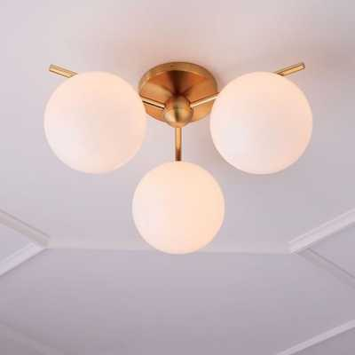 Sphere + Stem Flushmount, Brass/Milk Glass, 3-Light - West Elm