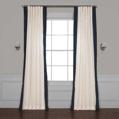 "Winsor Semi-Sheer Rod Pocket Single Curtain Panel - Polo Navy, 50""W x 96""L - Wayfair"
