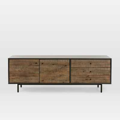 "Reclaimed Wood + Lacquer Media Console (70"") - Stone Gray - West Elm"