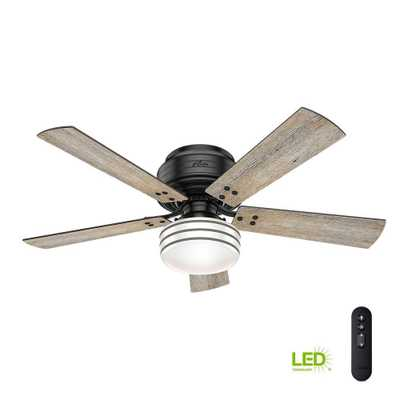 Cedar Key 52 in. Indoor/Outdoor Matte Black Low Profile Ceiling Fan with Light Kit and Handheld Remote Control - Home Depot