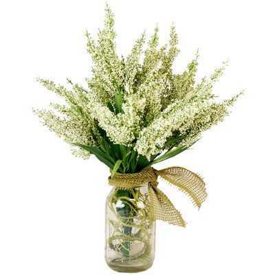 Amalia Spring Additions White Heather in Acrylic Water Mason Jar - Birch Lane