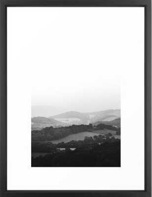 "Hill Mist - Black and White Collection Framed Art Print, 20""x26"", Vector Black Frame - Society6"