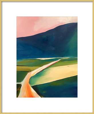 Sunset Road  BY JANET BLUDAU- 16''x20''- Frosted Gold Metal- With Matte - Artfully Walls