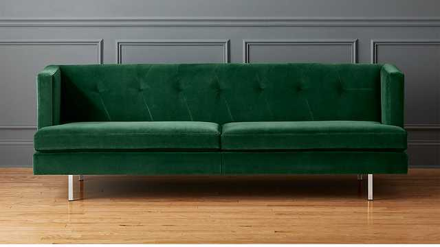 avec emerald sofa with brushed stainless steel legs - CB2