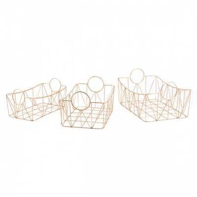 Set Of 3 Trays Gold Gold - Zuri Studios