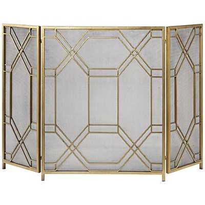 "Rosen Antiqued Gold Leaf 34""H Fireplace Screen - Hudsonhill Foundry"