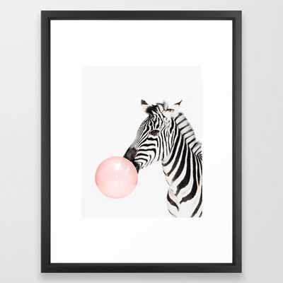 "Zebra, Bubble gum, Pink, Animal, Nursery, Minimal, Trendy decor, Interior, Wall art Framed Art Print - Vector White - 20"" x 26"" - Society6"