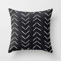 "Mudcloth Big Arrows in Black and White Throw Pillow, 18"" x 18"" with pillow insert - Society6"