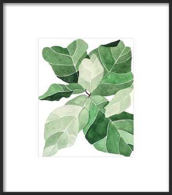 """Fiddle Leaf Fig - 10"""" x 12"""" - Matte Black Metal, frame width 0.25"""", depth 0.75"""" - Artfully Walls"""
