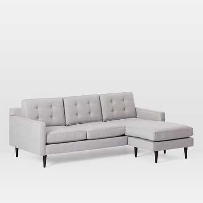 Drake Mid-Century Flip Sectional, Poly, Twill, Platinum, Cone Chocolate - West Elm