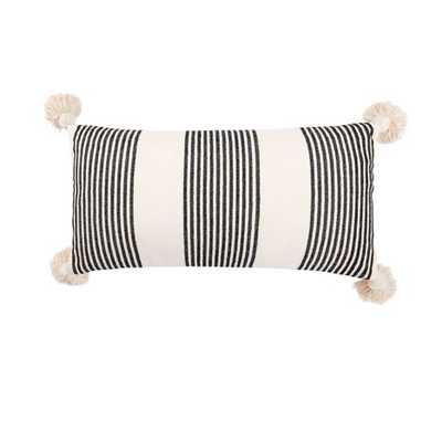 Perry Striped Lumbar Pillow, black - Cove Goods