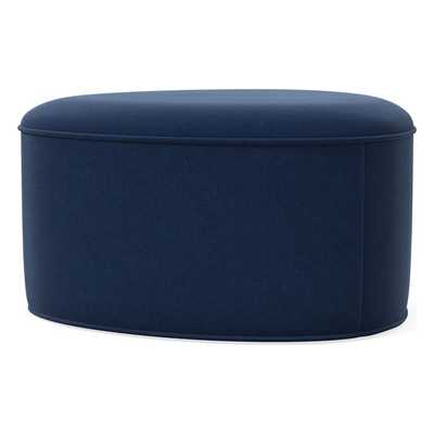 Pebble Ottoman Large, Poly, Performance Velvet, Ink Blue - West Elm