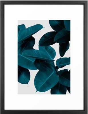 "Indigo Plant Leaves Framed Art Print-Vector Black-20"" by 26"" - Society6"