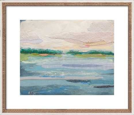"""Marsh Stripes 3 - 28x24"""" - Distressed Cream Double Bead Wood Frame with Matte - Artfully Walls"""