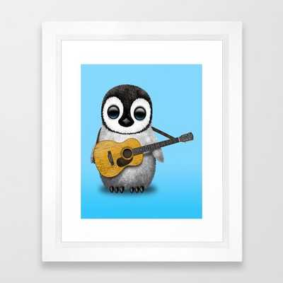 Musical Baby Penguin Playing Acoustic Guitar on Blue Framed Art Print - Society6