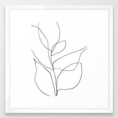 Minimalist Line Art Plant, Vector White ,20x26 - Society6