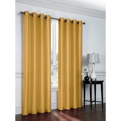 Gold Faux Silk Semi-Sheer Grommet Curtain Panels - Set of 2 - Wayfair