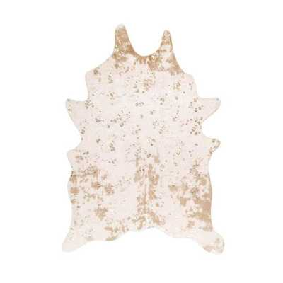 Iraida Faux Cowhide Off-White/Tan 6 ft. x 8 ft. Shaped Accent Rug - Home Depot