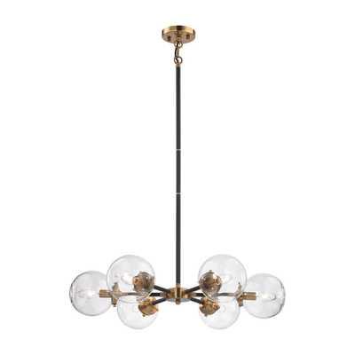 ELK Boudreaux 6 Light Chandelier In Matte Black And Antique Gold - 14432-6 - Rosen Studio