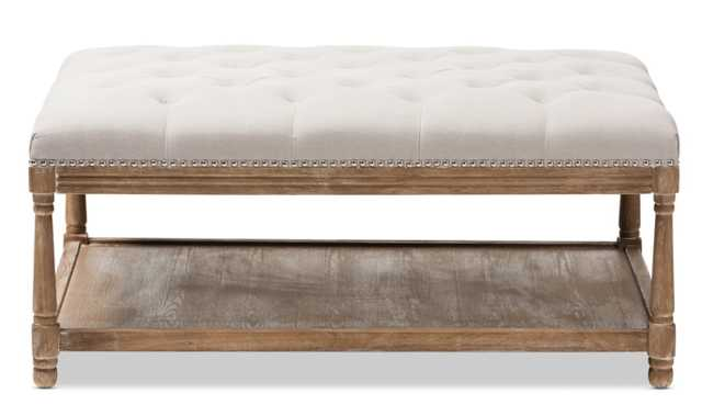 BAXTON STUDIO CARLOTTA FRENCH COUNTRY WEATHERED OAK BEIGE LINEN SQUARE COFFEE TABLE OTTOMAN - Lark Interiors