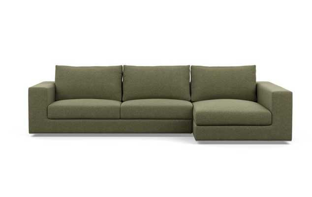 Walters Chaise Sectional with Quince - Sequence Stitch Fabric, and Bench Cushion - Interior Define