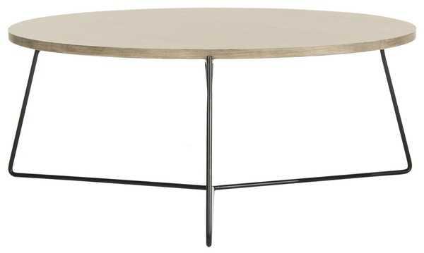 Mae Retro Mid Century Wood Coffee Table - Light Oak/Black - Arlo Home - Arlo Home