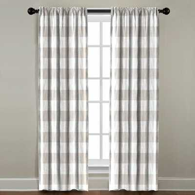 "Burren Plaid and Check Room Darkening Single Curtain Panel - Light Beige - 84""L - Wayfair"