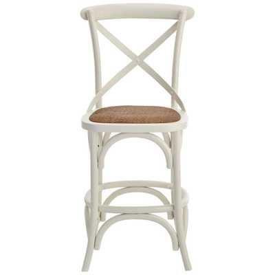 Hyde Cafe 24 in. Ivory Counter Stool with Back and Cane Seat - Home Depot