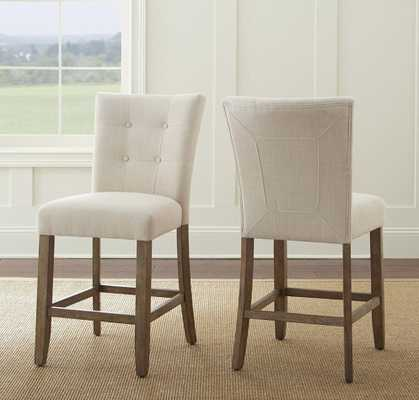 Debby Counter Chair Beige (Set of 2) - Home Depot