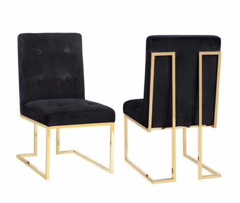Evelyn Black  Velvet Chair (Set of 2) - Maren Home