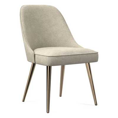 Mid-Century Upholstered Dining Chair, Distressed Velvet, Light Taupe, Blackened Brass/Individual - West Elm