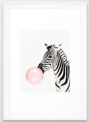 Zebra, Bubble gum, Pink, Animal, Nursery, Minimal, Trendy decor, Interior, Wall art Framed Art Print - Society6