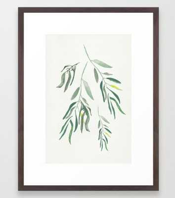 "Eucalyptus Branches II 20"" x 26"" with Conversation Walnut Frame - Society6"