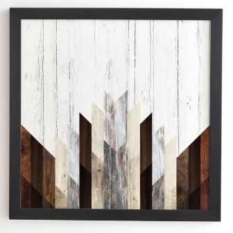 GEO WOOD 3 Framed Wall Art -30'x30' - Basic black frame - Wander Print Co.