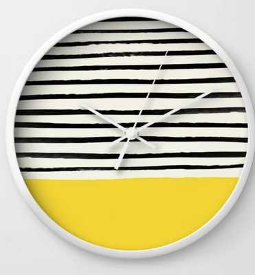 Sunshine X Stripes Wall Clock - by Floresimagespdx  - WHITE frame - Society6