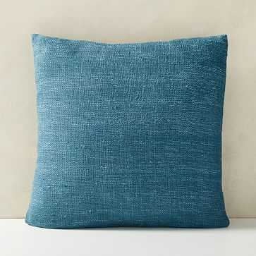 "Silk Handloomed Pillow with down, 20""x20"", Shadow Blue - West Elm"