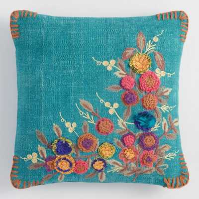 Teal Garden Floral Throw Pillow: Blue/Multi - Cotton by World Market - World Market/Cost Plus