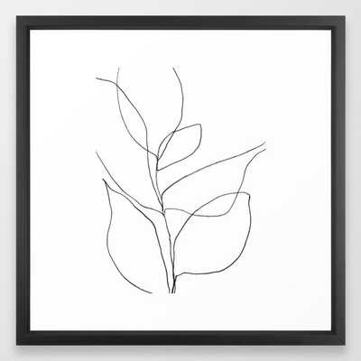 Minimalist Line Art Plant Drawing Framed Art Print - Society6